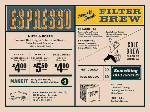 Grain Traders Coffee Menu - Review by Gourmet Adventures