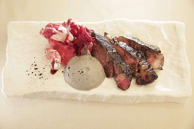 Grilled Beef Rib Eye with Beetroot Puree, Smoked Leek Cream & Rose ...