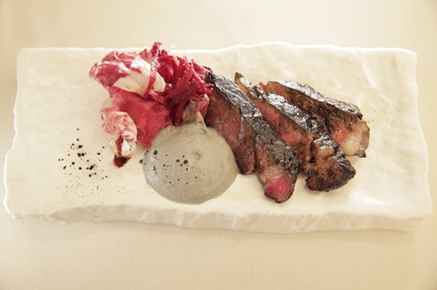 Grilled Beef Rib Eye with Beetroot Puree, Smoked Leek Cream & Rose Scented Radicchio